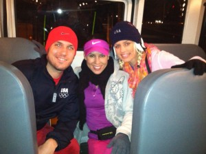 James Patrick, Kim Miller and Shannon Dougherty on the bus heading to the race