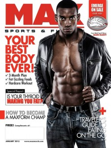 Allen Elliott on the January 2013 Cover of Max Sports & Fitness Magazine